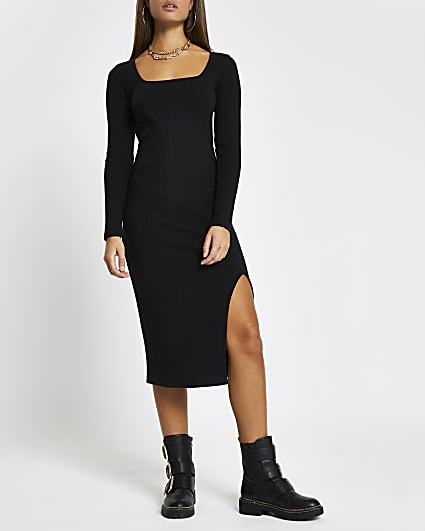 Black ribbed square neck split front dress