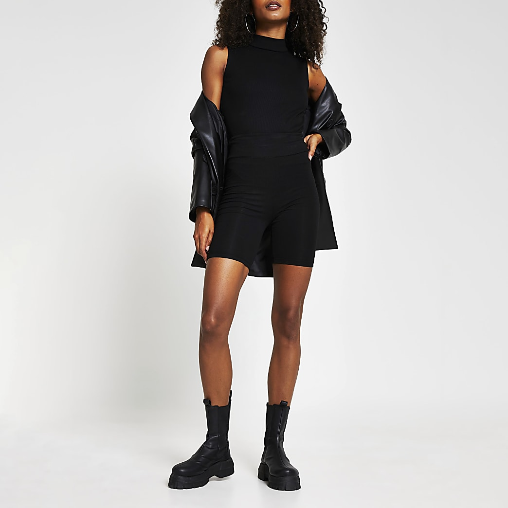 Black ribbed turtle neck bodysuit