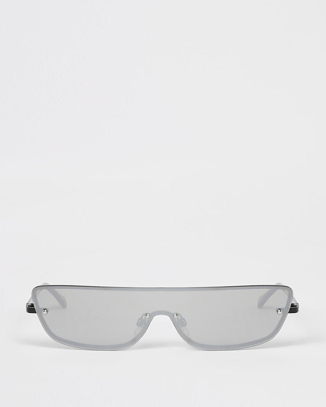Black rimless half visor sunglasses