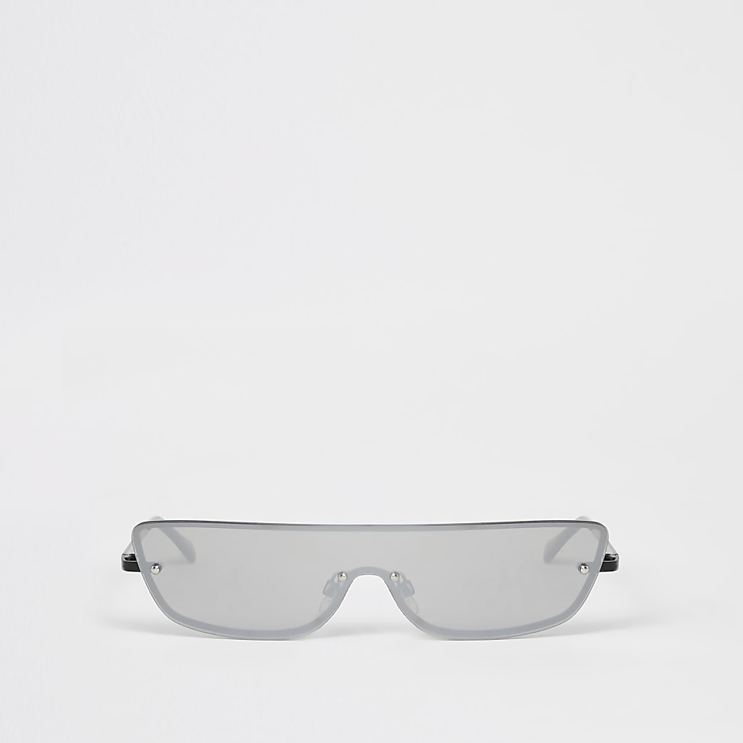 Black rimless half visor sunglasses