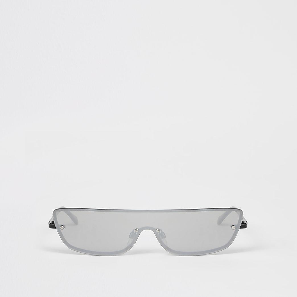 Halbhohe Visor-Sonnenbrille in Schwarz ohne Rahmen