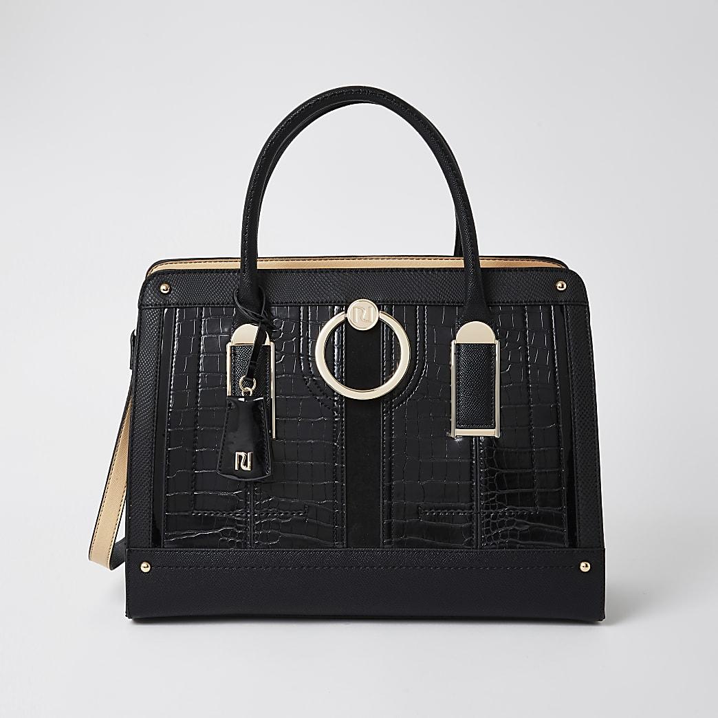Black Ring Front Tote Handbag