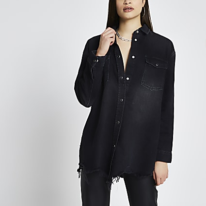 Black ripped hem oversized denim shirt