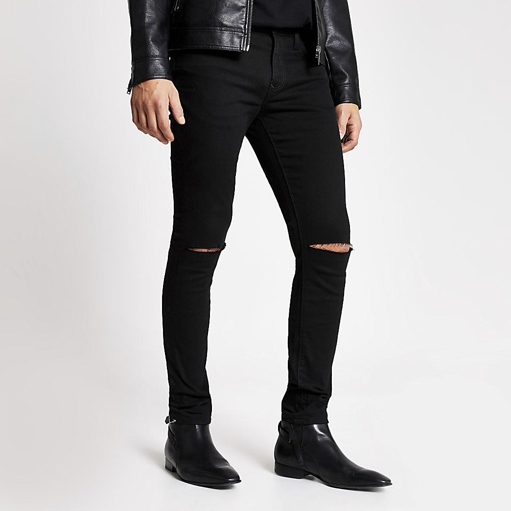Sid - Zwarte skinny jeans met gescheurde knie
