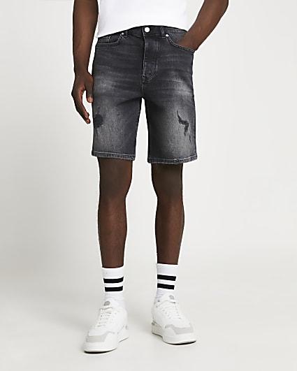 Black ripped oversized denim shorts