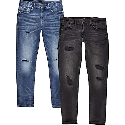 Black ripped Sid skinny jeans 2 pack