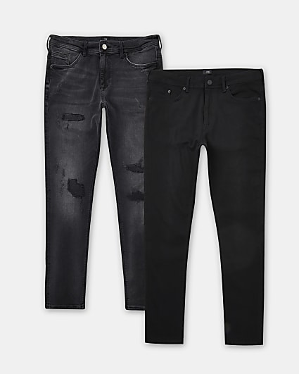 Black ripped skinny fit jeans 2 pack