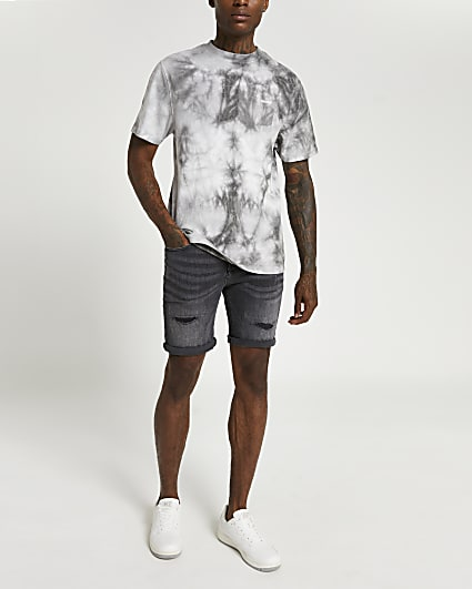 Black ripped skinny fit shorts