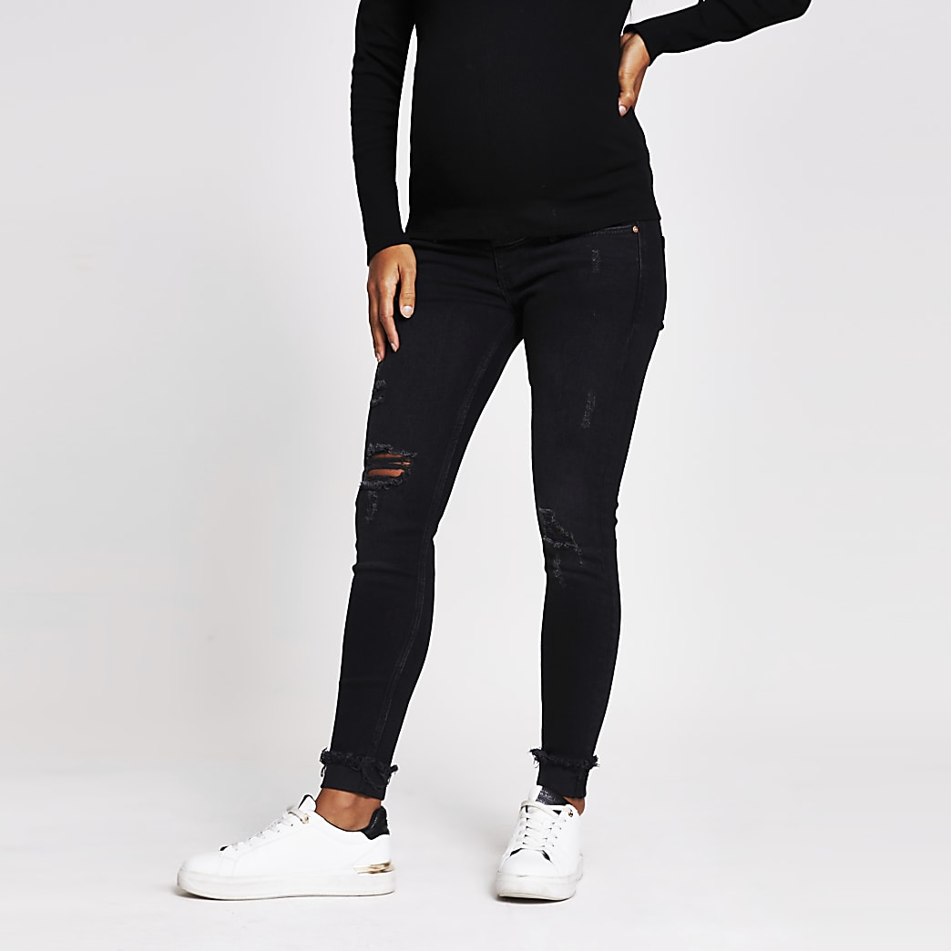 Black Ripped Skinny Maternity Jean