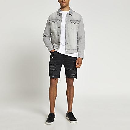 Black ripped slim fit denim shorts