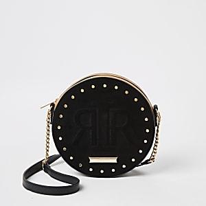 Zwarte ronde crossbodytas met RIR-print in reliëf