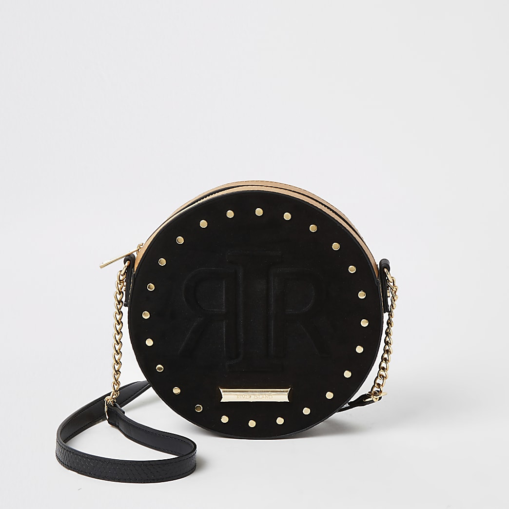 Black RIR embossed circle cross body bag