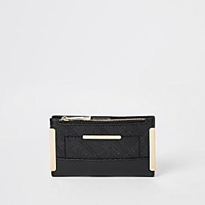 Zwarte uitvouwbare mini-portemonnee met RIR-print in reliëf