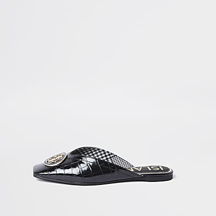 Black 'RIR' embossed square toe mule sandal
