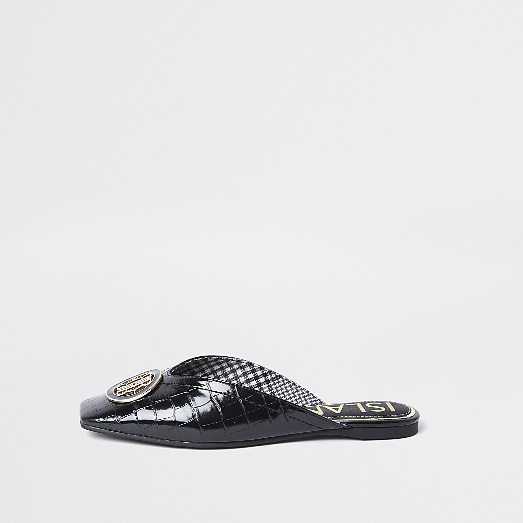 Black 'RIR' embossed square toe mule sandal