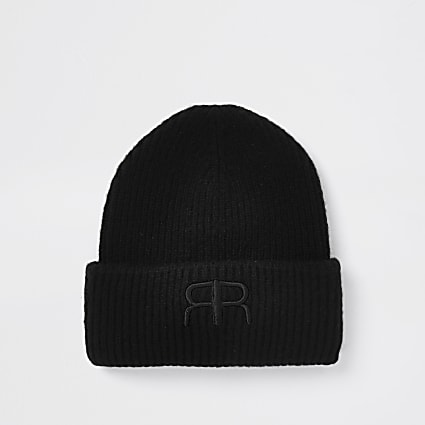 Black RIR embroidered beanie hat