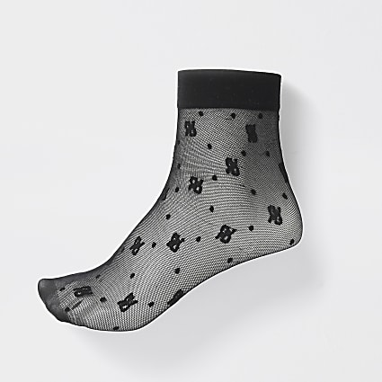 Black 'RIR' logo mesh ankle socks