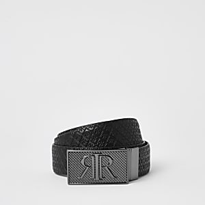 Black RIR monogram buckle reversible belt