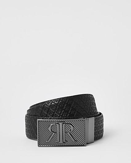Black RIR monogram buckle reversible belt