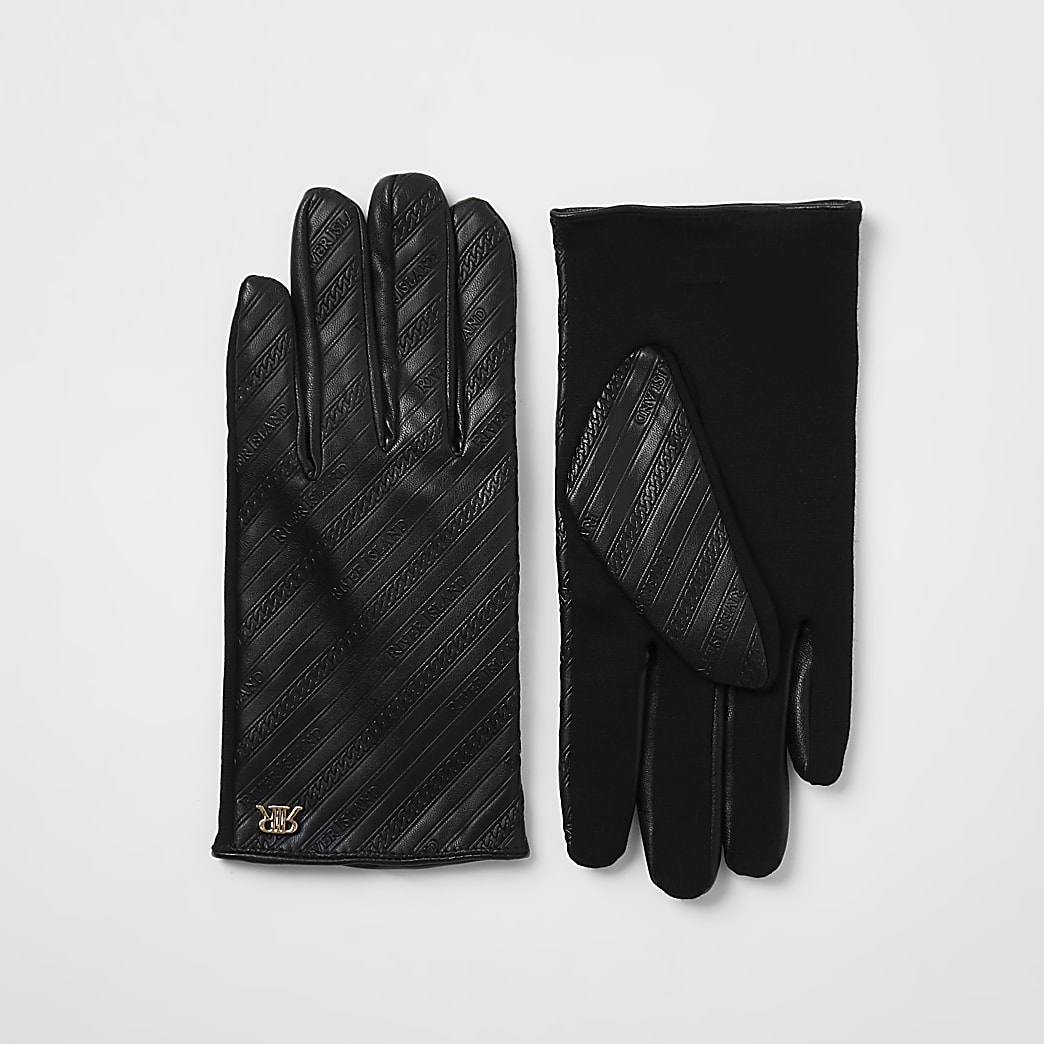 Black 'RIR' monogram embossed gloves