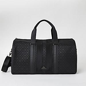 Schwarze Reisetasche mit RI-Monogramm-Muster