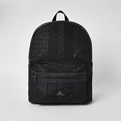 Black RIR monogram zip top backpack