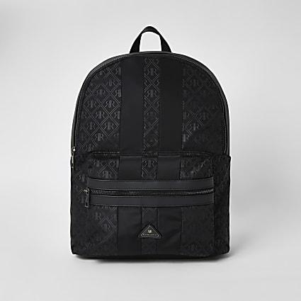 Black RIR monogram zip top backpack