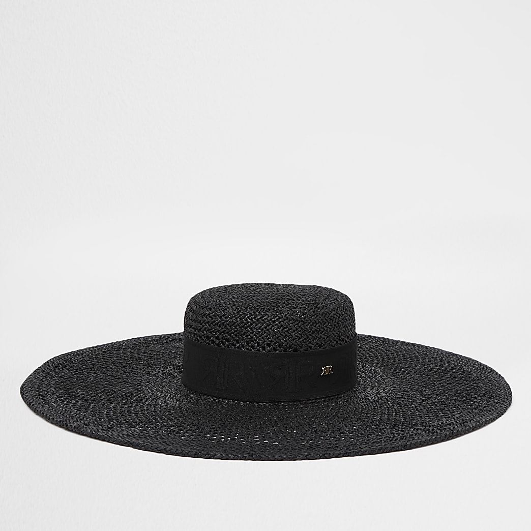Black RIR oversized sun hat