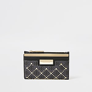 Black RIR studded mini fold out purse