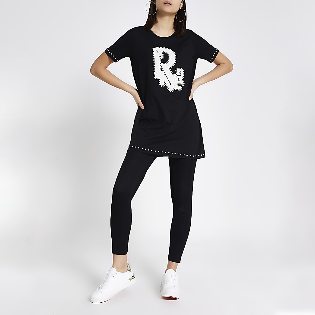 T-shirt oversize noir RIver orné