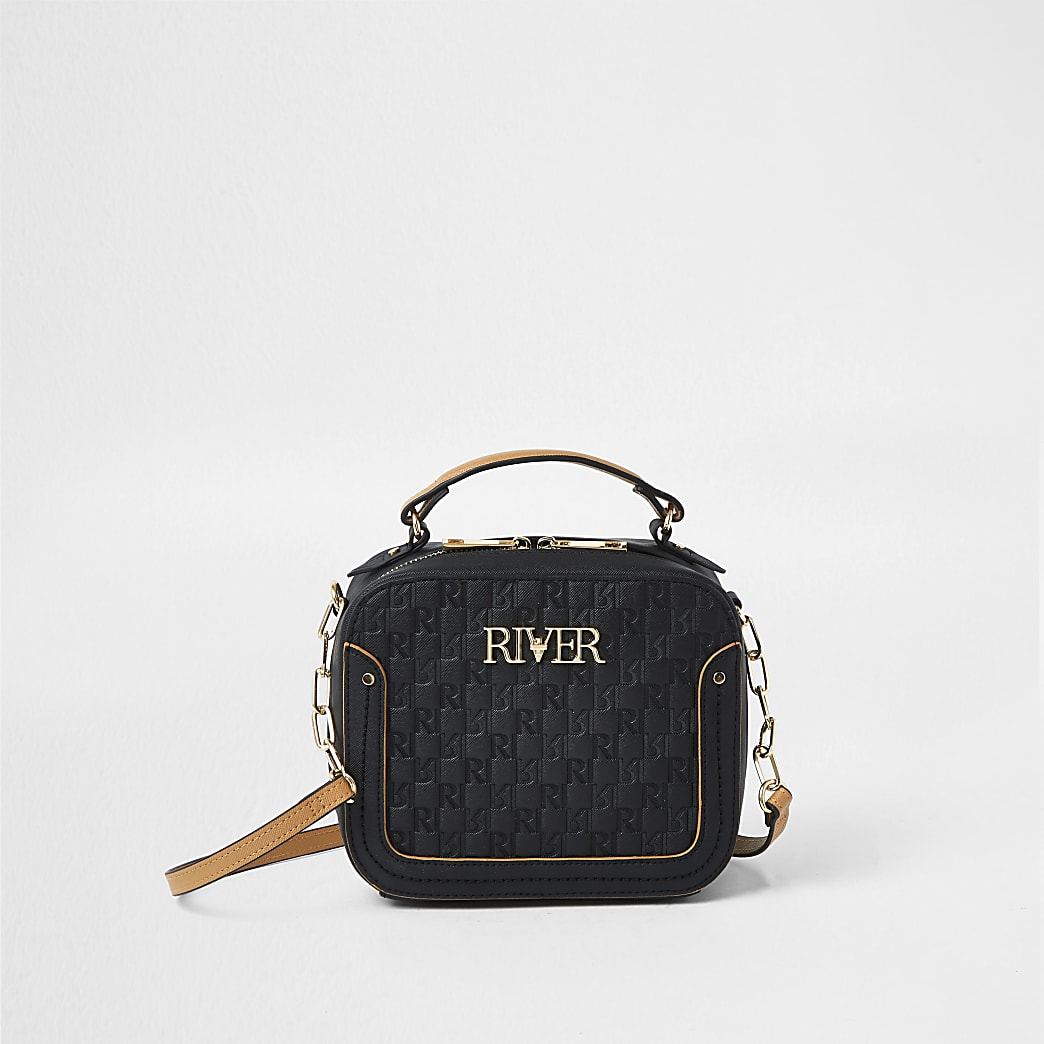 Black 'River' embossed boxy bag