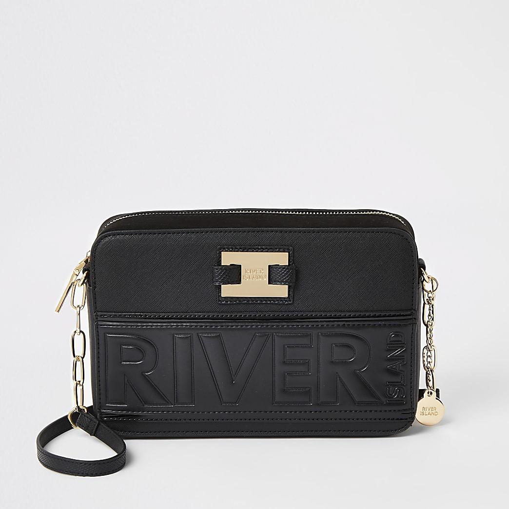 Black 'River' embossed boxy cross body bag