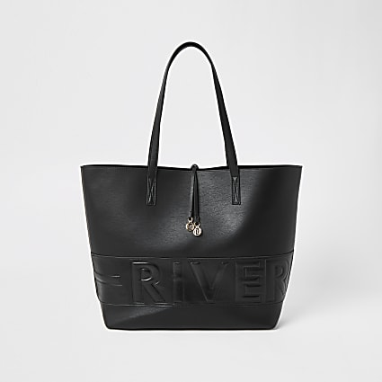 Black 'River' embossed shopper bag