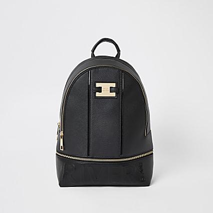 Black 'River' embossed zip top backpack