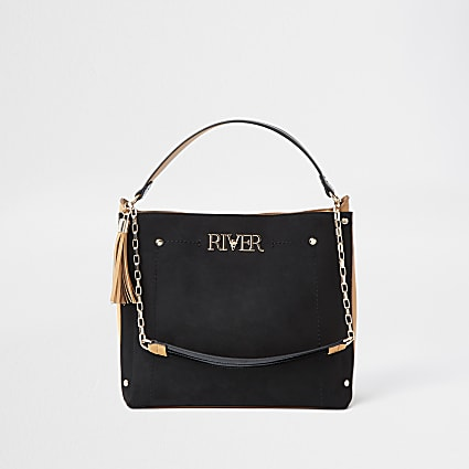 Black 'River' gold chain slouch bag