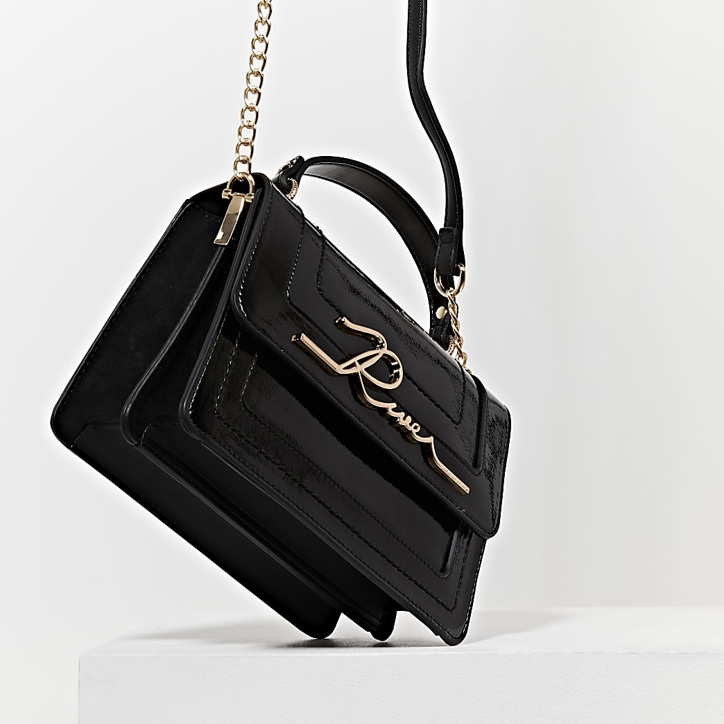 Black 'River' large satchel bag