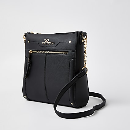 Black 'River' logo messenger handbag