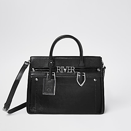 Black 'River' mini shopper tote handbag