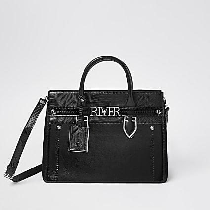 Black 'River' mini shopper tote handbag