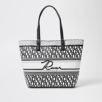 Black 'River' printed shopper bag