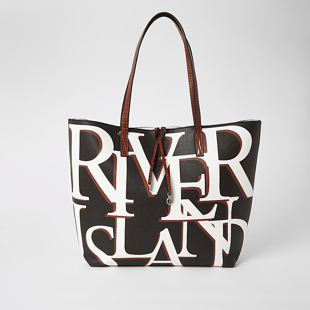 Black 'River' printed shopper tote bag