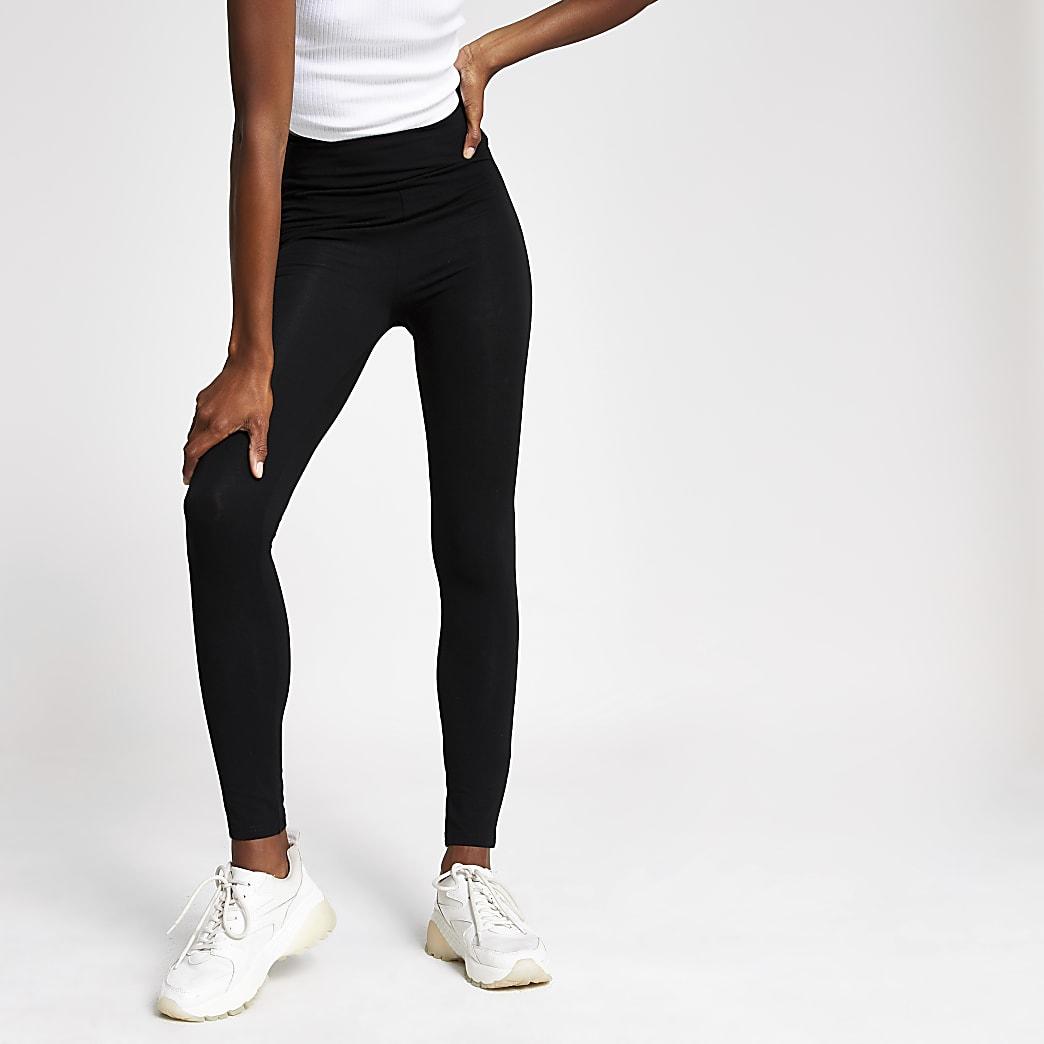 Schwarze RI-Leggings mit hohem Bund