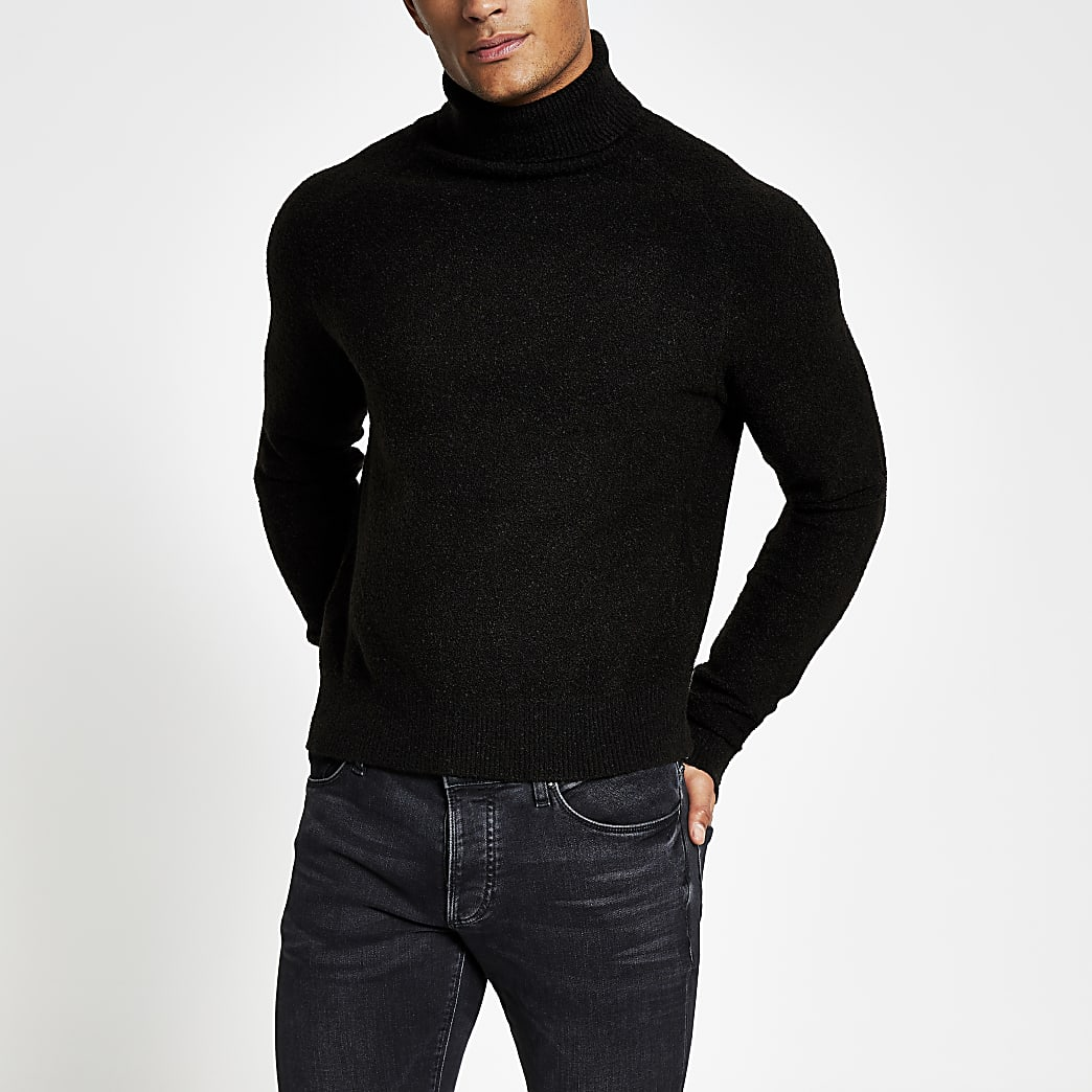 Black roll neck boxy fit boucle knit jumper