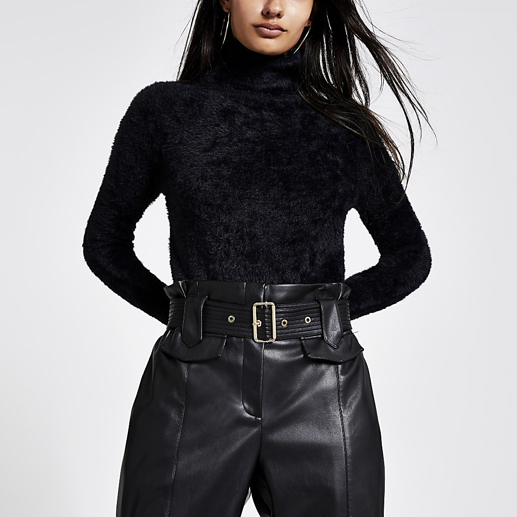 Black roll neck cropped fluffy knit jumper