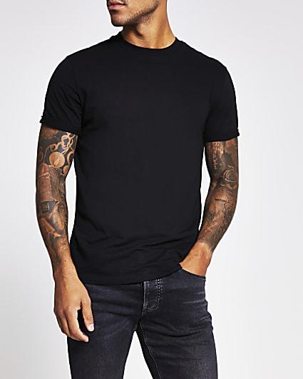 Black rolled sleeve slim fit t-shirt