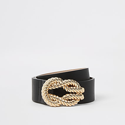 Black rope embossed buckle belt