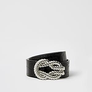 Zwarte riem met gesp met gedraaid touwpatroon