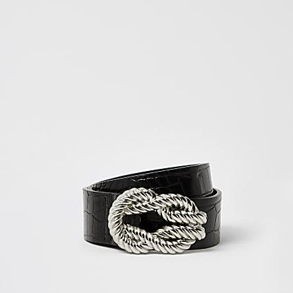 Black rope twisted buckle belt