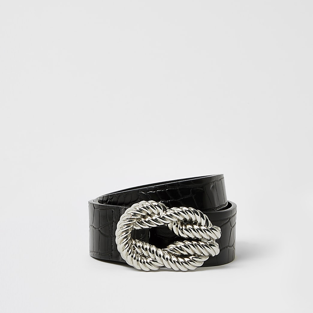 Black rope twisted buckle belt