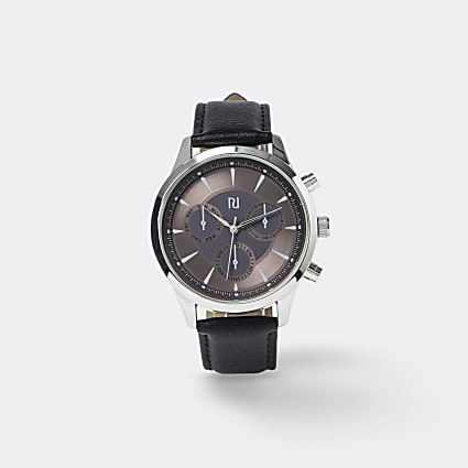 Black rose gold face leather watch